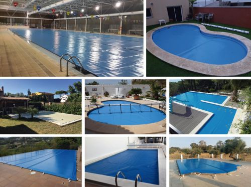 Different types of large buoyancy covers to protect the pools during the summer.