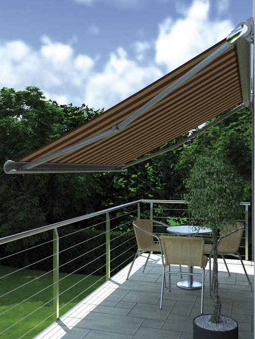 Awning mx990 on terrace with table and chairs