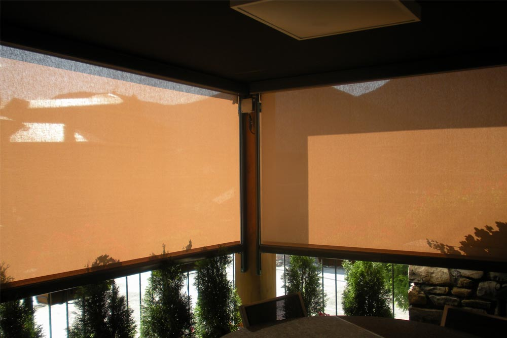 Awning ma760 vertical covering the windows of a house