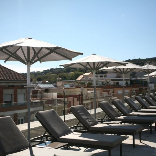 Ibiza parasols at a hotel in Barcelona