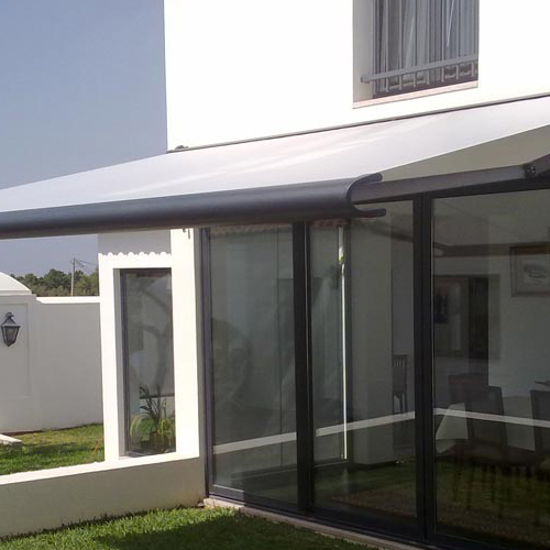 Awning mx990 in garden covering stained glass