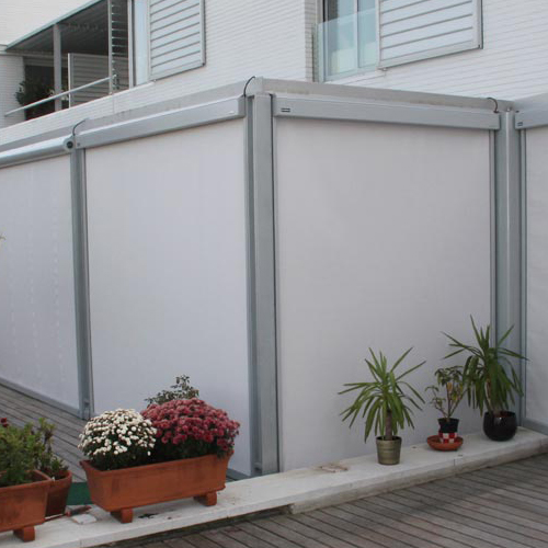 Awning ma869 in window of private house and with plants