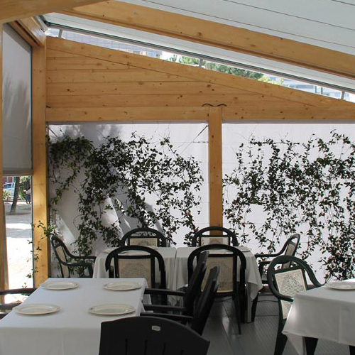 Lucernario ma8800 with wooden structure for restaurant