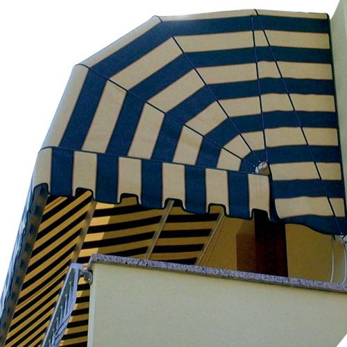 Awning with yellow and blue striped kites