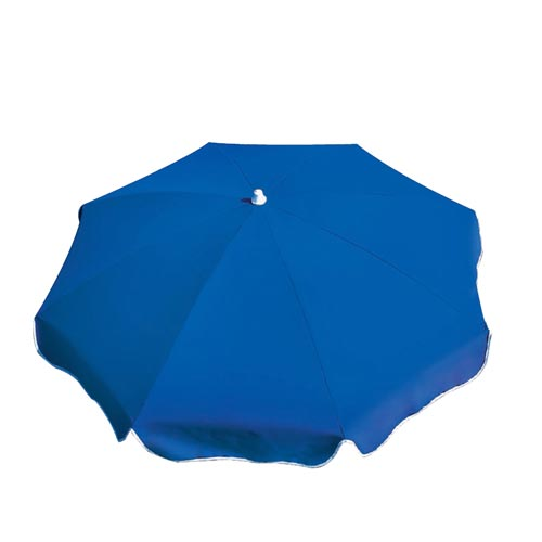 Blue verona parasol with flap in profile view
