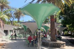 Estoril parasols with green and white canvas.