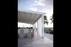 Elegant IR-230 pergola with tables and chairs