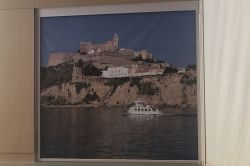 Cliff curtain with image of Ibiza