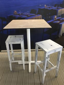 Tall table with brown board and white foot