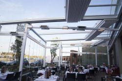 Pergola Novo in the interior of a restaurant with heaters
