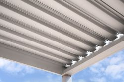 White slats of the pergola