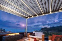 Pergola with lighted slats