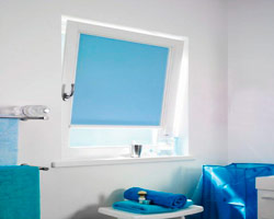Curtain rs nano blue in window of a bathroom