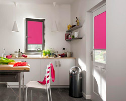 Curtain rs nano rose in window and door of a kitchen
