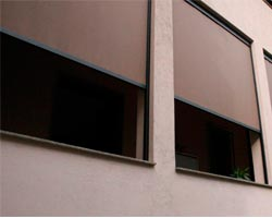 Curtain z711 on building facade windows