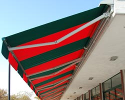 Red and green striped Hercules awning