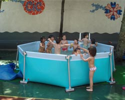 Removable pool Octagonal Flipper in garden with children