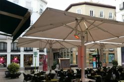 Heater for parasols in a restaurant