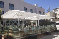 Heater installed in the parasol of the restaurant tagliatella