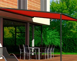 Awning ma210 red in garden with outdoor furniture