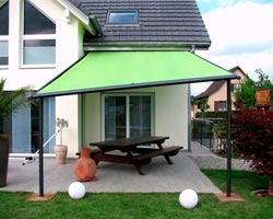 Awning ma210 green with irregular legs in garden
