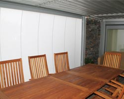 Awning ma869 on large porch with table and chairs