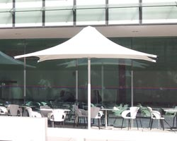 Syrian parasol facing the terrace of a bar
