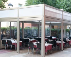 Pergola saloon on restaurant terrace