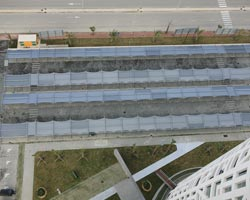 Aerial view of Praxis Structure for parking