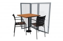 Table partition divider for terraces.