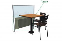 Partition screen with Green fabric.