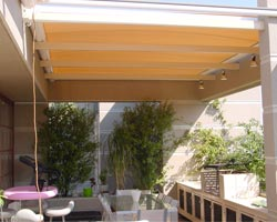 Shed awning spread out on terrace