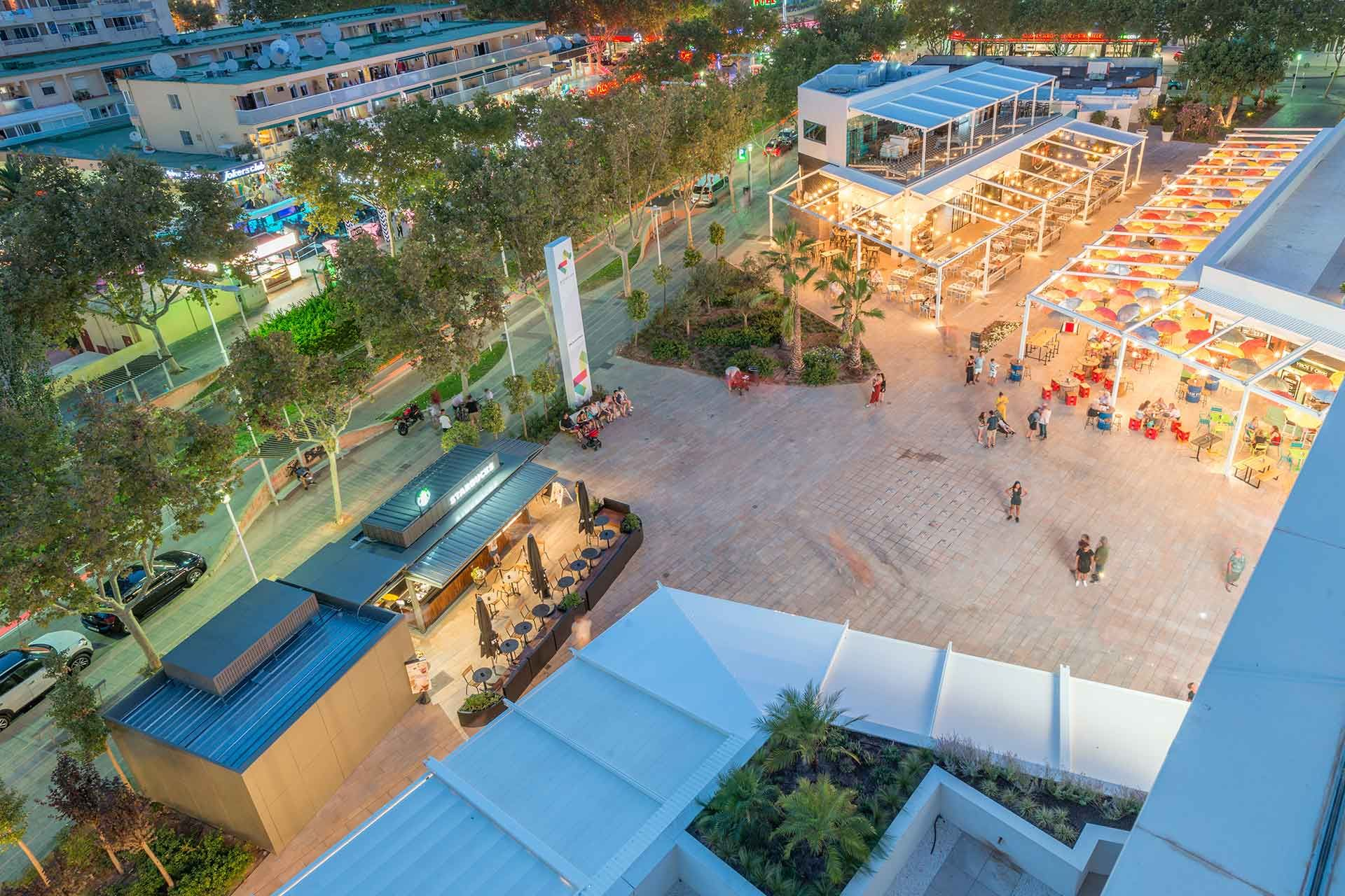 Aerial view of the shopping center pergolas