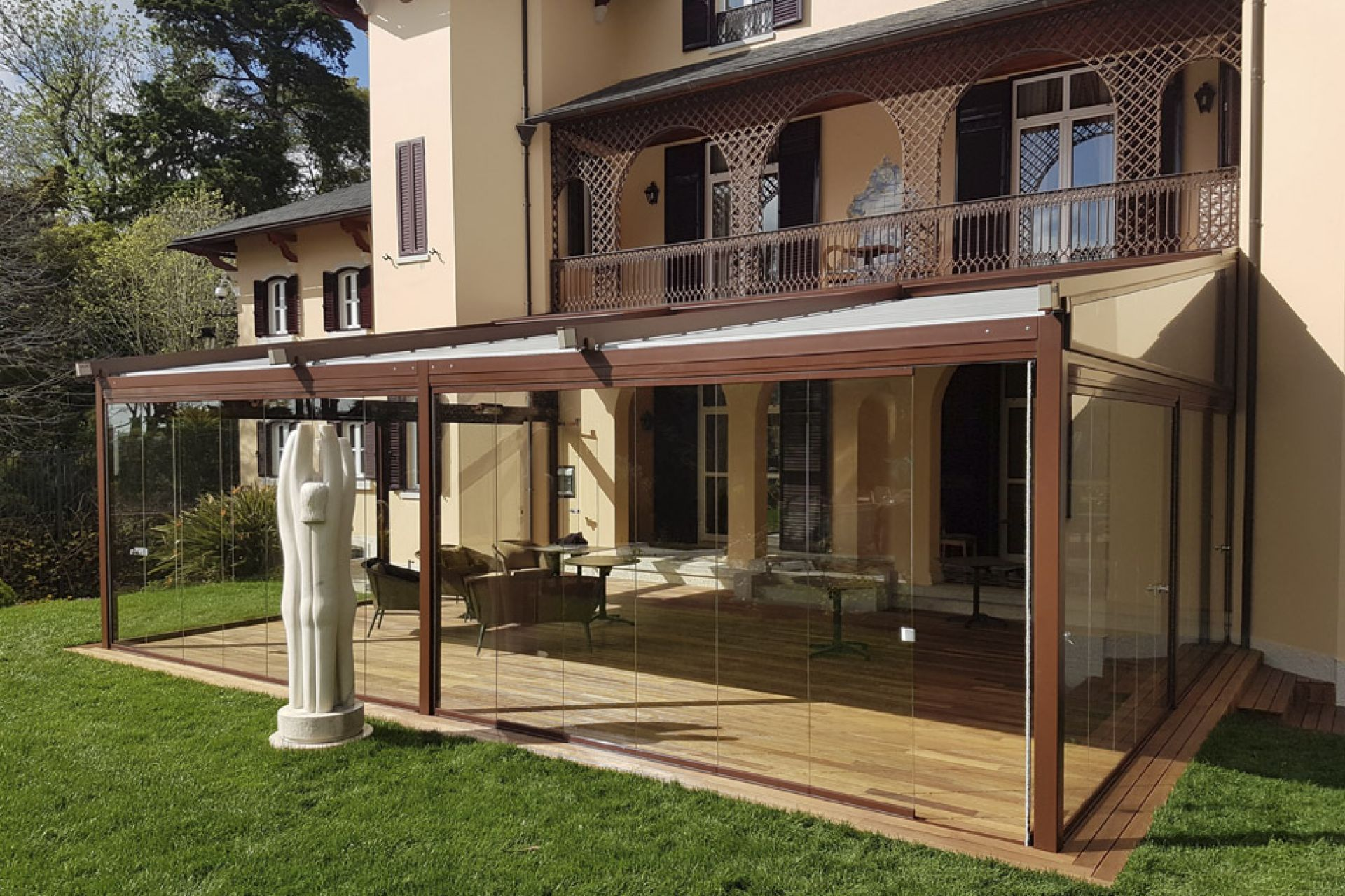 Asgard pergola with retractable glass enclosure