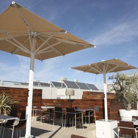 Indus parasols on the hotel terrace