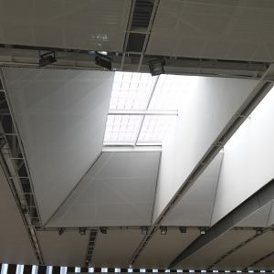 Entrance of light on the roof of the sports center