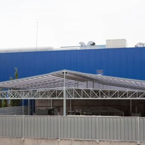 Asgard pergola to cover the exterior warehouse of IKEA