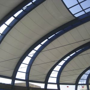 The covering, the very first that includes a system of transparent ETFE foils, combines 6 transluce
