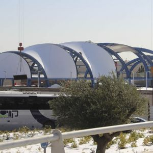 The covering, the very first that includes a system of transparent ETFE foils, combines 6 translucen