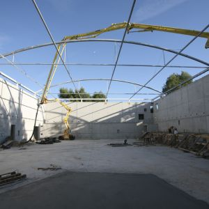 Construction of the sports center with pvc cover