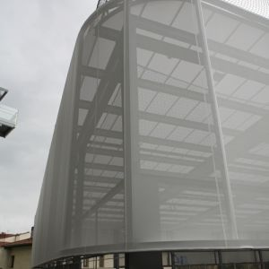 Coverage textile front in white color for the Atxuris sports center
