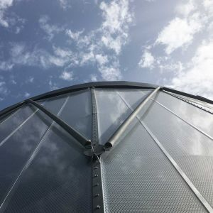 ETFE sheets in metallic structure.