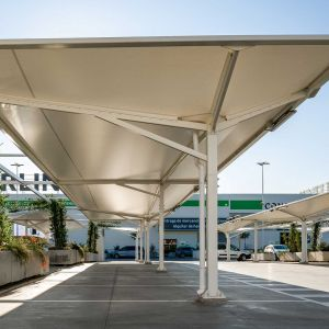 PVC canopies in the Way Shopping Centre car park.