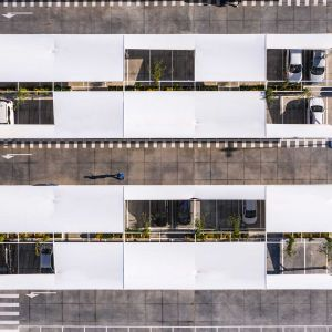 Car park canopies seen from the air.
