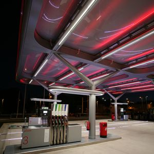 CEPSA night station with red LED lighting.