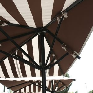 Interior of the striped parasol