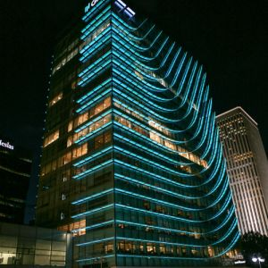 Building of the Castellana 77 illuminated