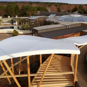 Tensioned structure with white canvas