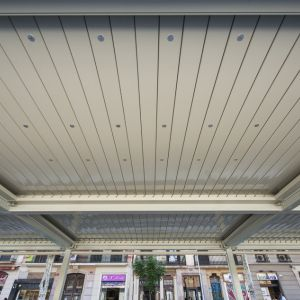 Pergolas of louvres with lighting