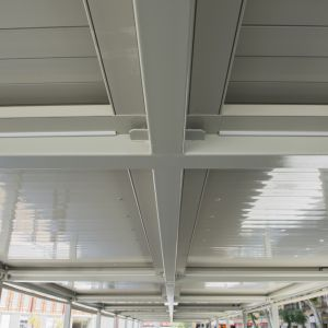 Ceiling of the pergolas of slats in the market